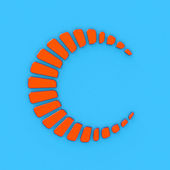 Abstract cicle orange logo style 3d model — Stock Photo