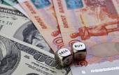 USD RUB banknotes, dices cubes — Stock Photo