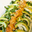 Closeup of healthy salmon salad with avocado and organic vegetables — Stock Photo #61509495