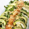 Closeup of healthy salmon salad with avocado and organic vegetables — Stock Photo #61509533