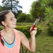 Young woman cutting and pruning the bonsai pine tree — Stock Photo #79828742
