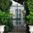 Vintage curved steel doors to the garden — Stock Photo #54259675