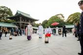 Tokyo, Japan - November 23, 2013: Japanese wedding ceremony at Shrine. — Stock fotografie