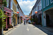 Phuket, Thailand - April 15, 2014: Tourist visit Old building Chino Portuguese style in Phuket — Stock Photo