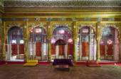 Interior mughal architectural details of Mehrangarh Fort — Stock Photo