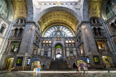 Antwerp, Belgium - May 11, 2015: People in Entrance hall of Antwerp Central station. — Stock Photo