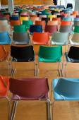 Back of colorful chairs — Stock Photo