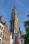 Tower of Cathedral of Our Lady in Antwerp — Stock Photo