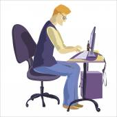 Man sitting in front of his computer and working — Stock Vector