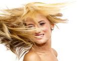 Beautiful Blonde Woman Shaking Her Hair — Stock Photo