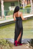 Beautiful woman from behind in a park  — Stok fotoğraf