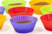 Chocolate muffins in silicone holders of many colors — Stock Photo