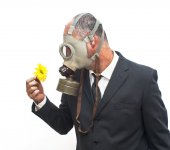 Businessman with gas mask looking at an flower in his hand — Stock Photo