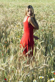 Beautiful blond woman in a wheat field at sunset — ストック写真