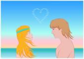 In love girl and guy — Stock Vector