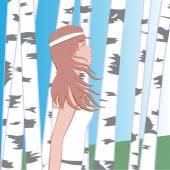 Girl between birches — Stock Vector
