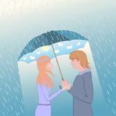 Couple under an umbrella — Stock Vector