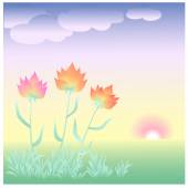 Flowers at dawn — Stock Vector
