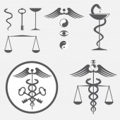 Black and white icon set caduceus — Stock Vector
