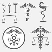 Black and white icon set caduceus — Vettoriale Stock