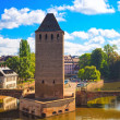 Strasbourg, medieval bridge Ponts Couverts and Cathedral. Alsace — Stock Photo #54509417