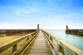 Pier and lighthouse, Fecamp harbor. Normandy France. — Stock Photo