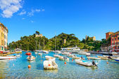 Portofino luxury village landmark, panorama view. Liguria, Italy — Zdjęcie stockowe