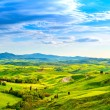 Tuscany, rural sunset landscape. Countryside farm, white road an — Stock Photo #56182345