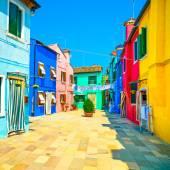 Venice landmark, Burano island street, colorful houses, Italy — Stock Photo