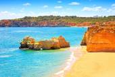 Rots strand praia da rocha in portimao. algarve. portugal — Stockfoto