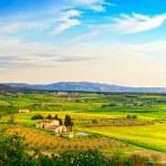 Maremma, rural sunset landscape. Countryside farm and green fiel — Stock Photo #57861025