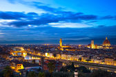 Florence or Firenze sunset aerial cityscape. Panorama view from  — Stock Photo