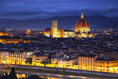 Florence or Firenze, Duomo Cathedral landmark. Sunset view from  — Stok fotoğraf