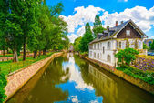 Strasbourg, water canal in Petite France area, Unesco site. Alsa — Stock Photo