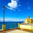 Camogli church on sea, lamp and terrace. Ligury, Italy — Stock Photo #60290913