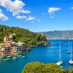Portofino luxury village landmark, panoramic aerial view. Liguri — Stock Photo #63531541