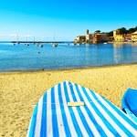 Sestri Levante, silence bay sea, boat and beach view. Liguria, I — Stock Photo #65404559