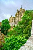 Hito de Mont Saint Michel Monastery. Normandía, Francia. — Foto de Stock