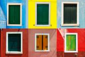 Venice landmark, Burano colorful house windows collection, Italy — Stock Photo