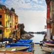 Riomaggiore village street, boats and sea. Cinque Terre, Ligury, — Stock Photo #68733067