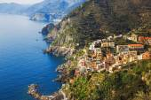 Via dell Amore, The Way of Love, aerial view. Cinque Terre, Ligu — Stock Photo