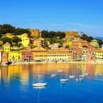Sestri Levante, silence bay sea and beach panorama. Liguria, Ita — Stock Photo #71462041