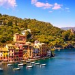 Portofino luxury village landmark, panoramic aerial view. Liguri — Stock Photo #85401044