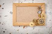 Wooden frame and mechanical clock gears — Zdjęcie stockowe