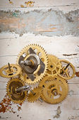 Mechanical clock gears — Stock Photo