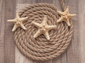 Rope, starfish on the old wooden background — Stock Photo