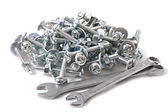 Bench tools, bolts, nuts, washers — Stock Photo