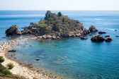 Panoramic view of Isola Bella (Beautiful island): small island n — Stock Photo