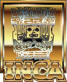 Ancient Peruvian gold ornament illustration — Stock Vector