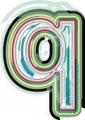 Аннотация, красочные буква Q — Cтоковый вектор